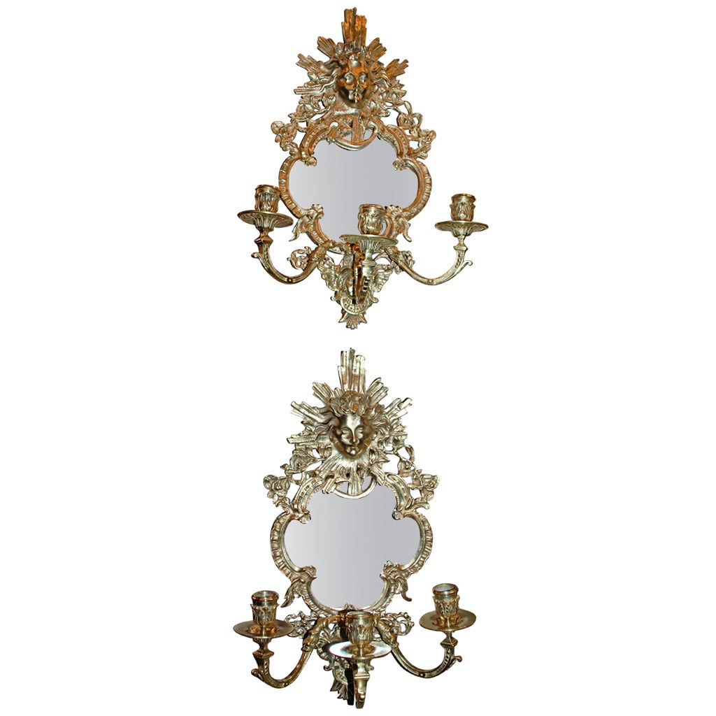Antique Mirror Wall Sconces : Antique French Bronze Mirrored Sconces at 1stdibs