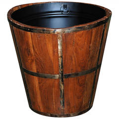 Antique Walnut and Oak Bucket with New Liner