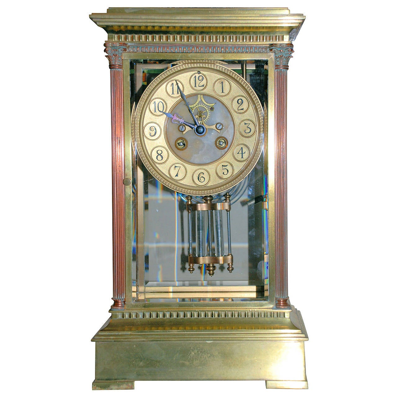 Antique Bronze Clock With Crystal And Mercury Pendulum