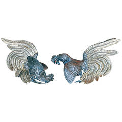 Antique Silver Roosters