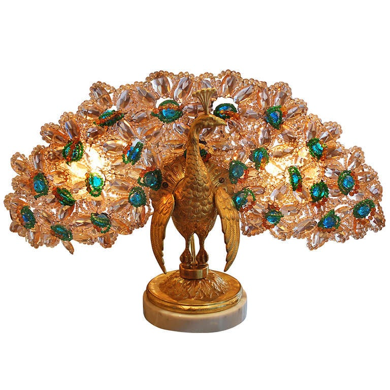 Antique Bronze And Crystal Peacock Lamp C 1920 S At 1stdibs