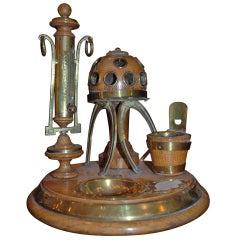 Antique Victorian Oak and Brass Smoking and Desks set