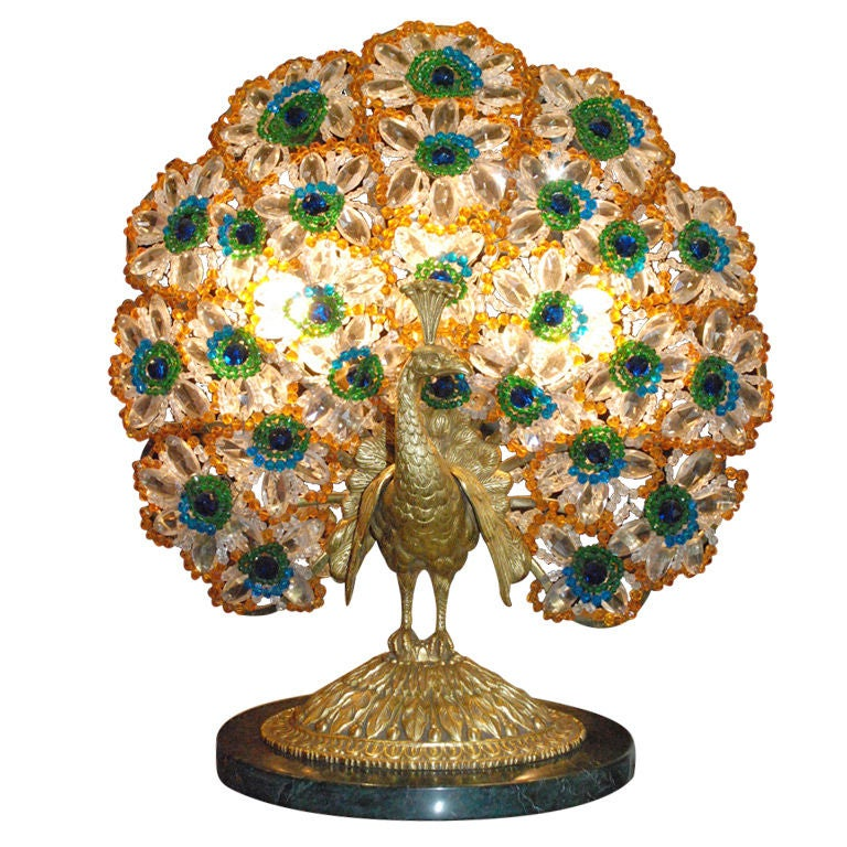 Antique Art Nouveau Peacock Lamp at 1stdibs