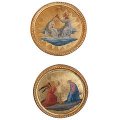Hand-Painted Pair of Icons