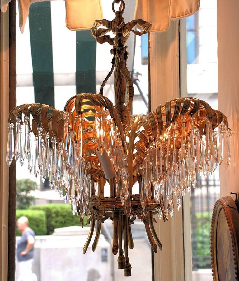 Pair Of Antique Art Nouveau Palm Chandeliers At 1stdibs