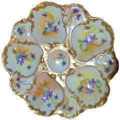 Hand Painted Limoges T&V Porcelain Oyster Plate
