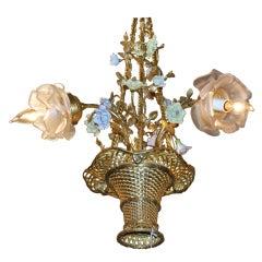 Antique French Dresden Flower Chandelier