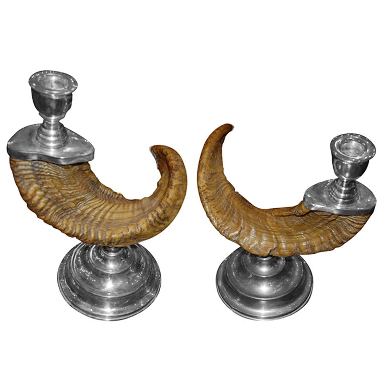 Pair of Silver plated Ram Horn Candlesticks