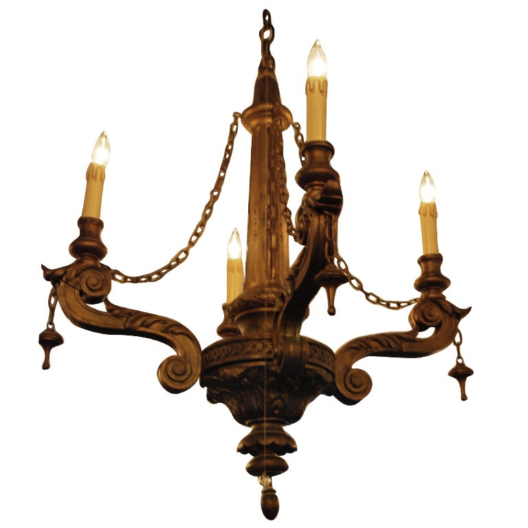 Estate Carved Wood Chandelier 1 - Estate Carved Wood Chandelier For Sale At 1stdibs