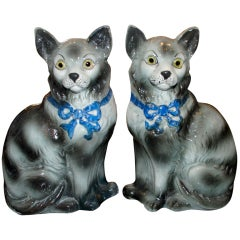 Pair of Antique Staffordshire Cats