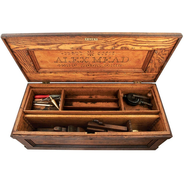 Oak Carpenter S Tool Box At 1stdibs