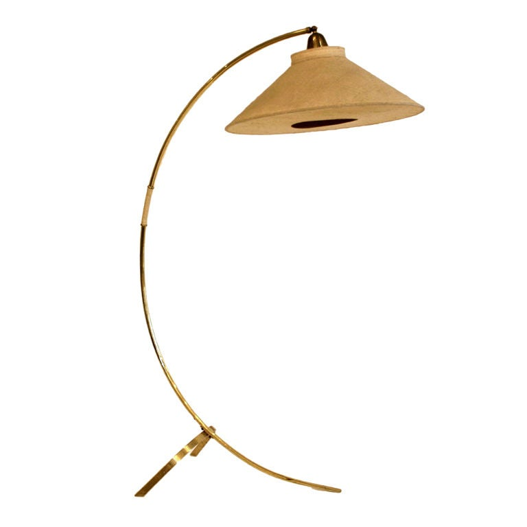 Curved Floor Lamp Large Shade : S curved brass floor lamp with original raw silk