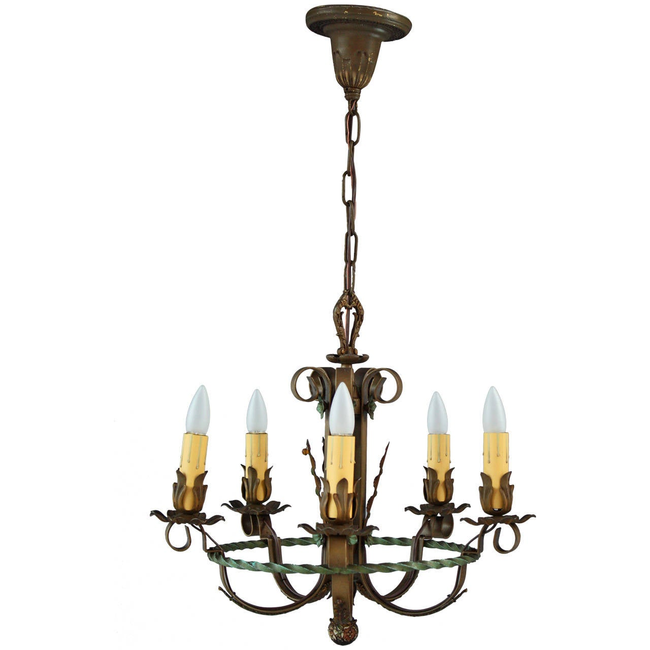 1920s spanish revival chandelier with acanthus at 1stdibs for Spanish revival lighting