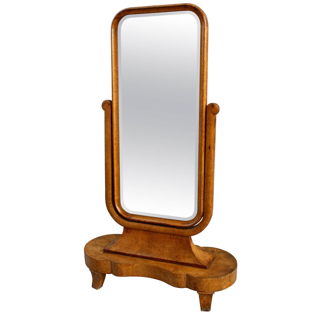 Magnificent art deco standing cheval mirror for sale at for Floor length mirror for sale