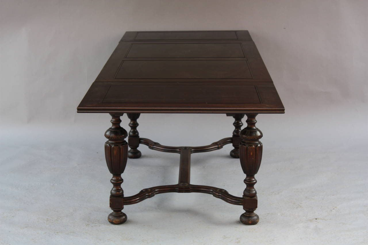 1920 39 s expandable walnut dining room table at 1stdibs - Telescoping dining room table ...