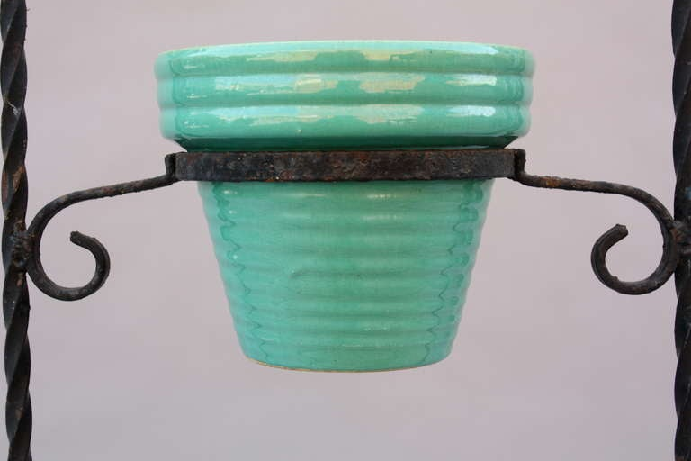 1920 S Iron Pot Holder With California Pots At 1stdibs