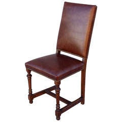 1920s Tall Leather Side Chair