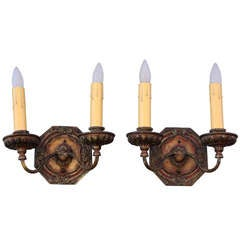 Pair Of 1920s Elaborate Large Double Sconce