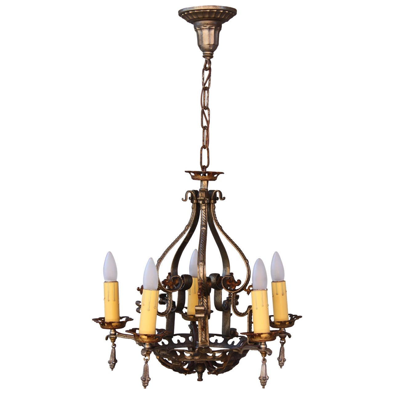 1920 39 s spanish revival chandelier at 1stdibs for Spanish revival lighting fixtures