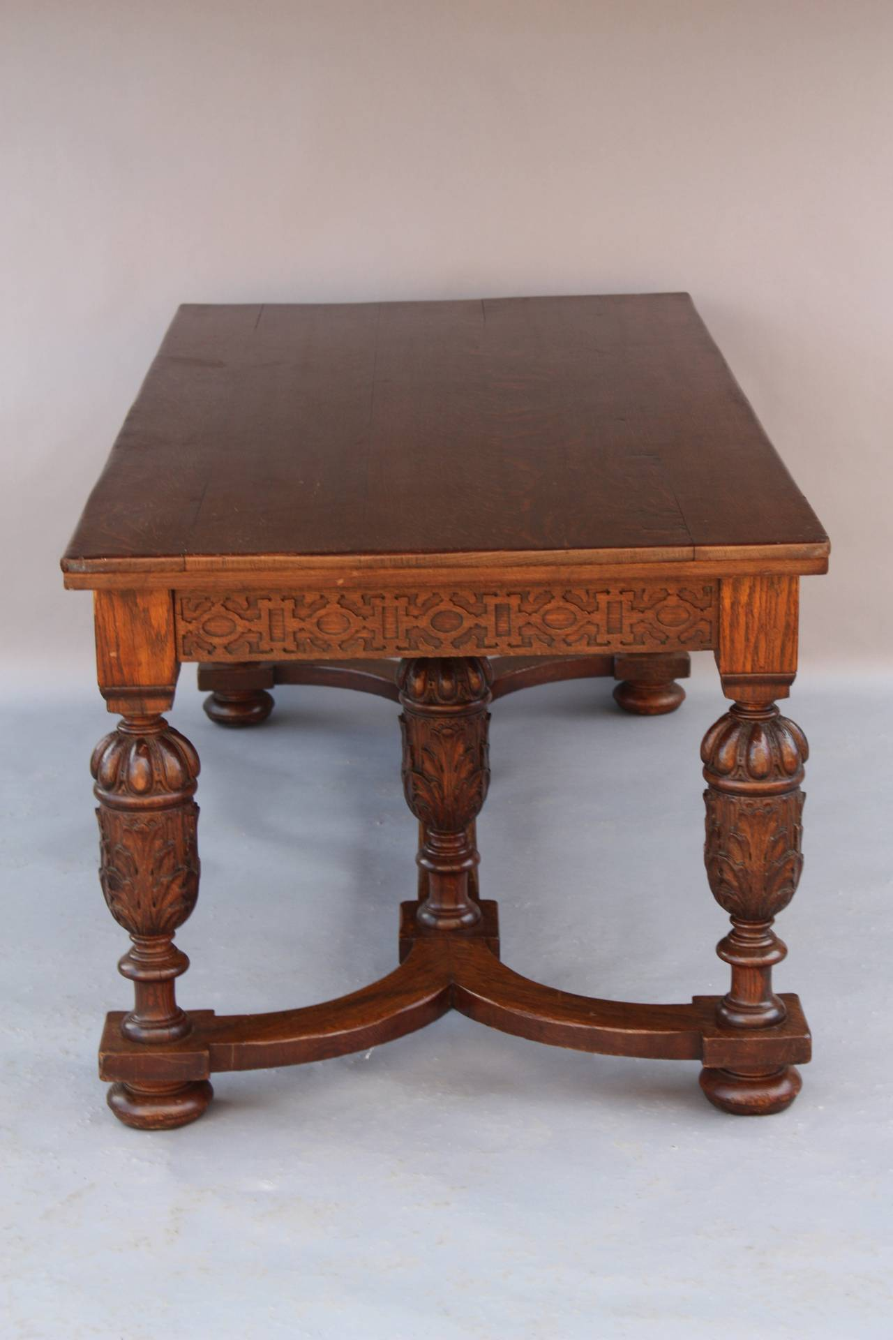 Antique 1920 S Carved Oak Library Table At 1stdibs