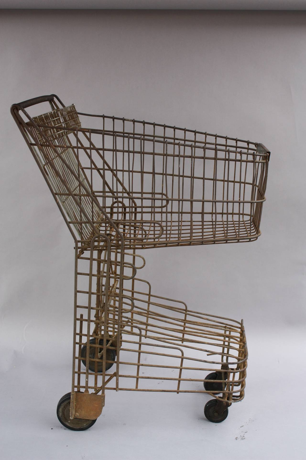 Vintage 1940s Wire Shopping Cart Machine Age At 1stdibs
