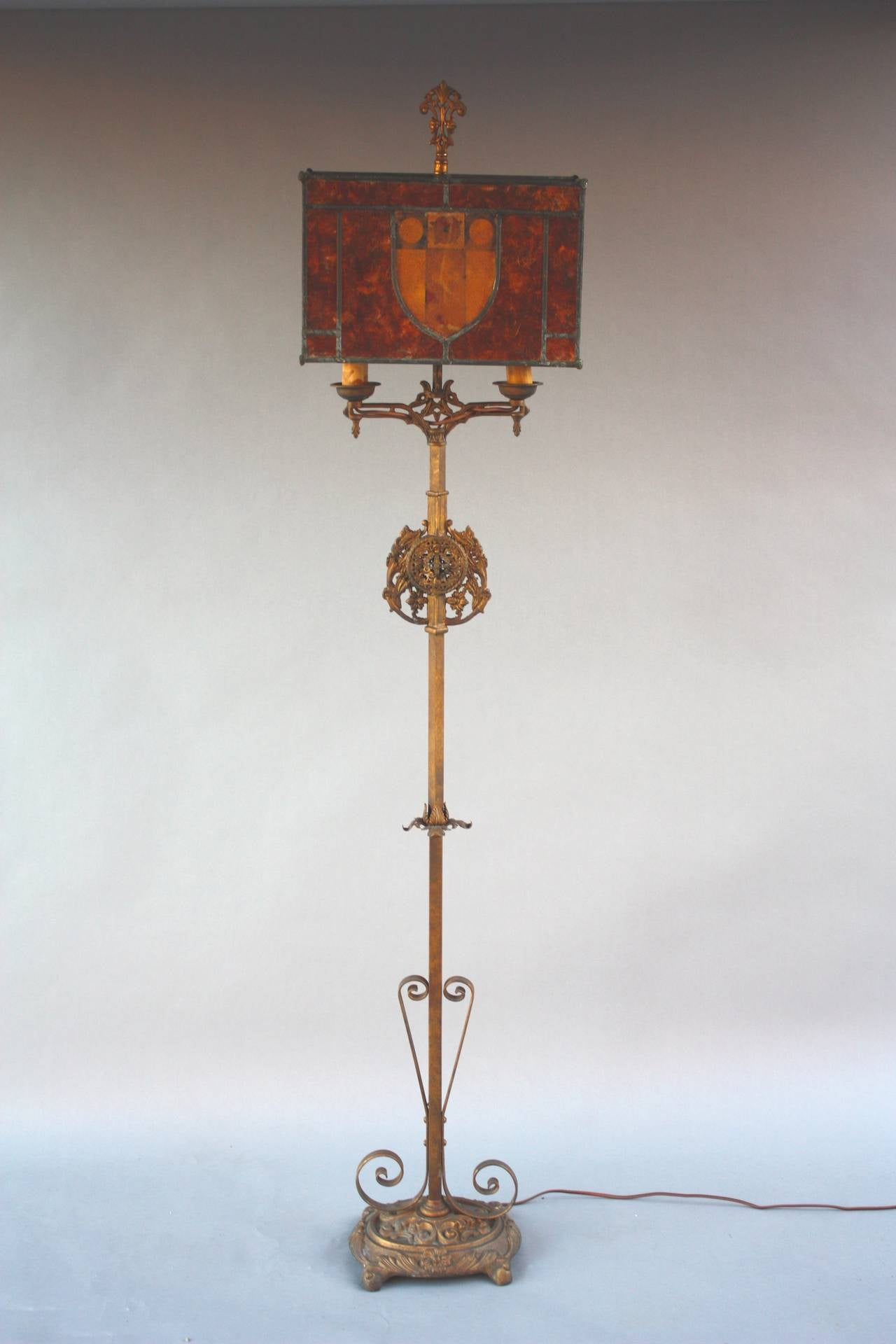 1920s Beautiful Tall Mica Floor Lamp At 1stdibs
