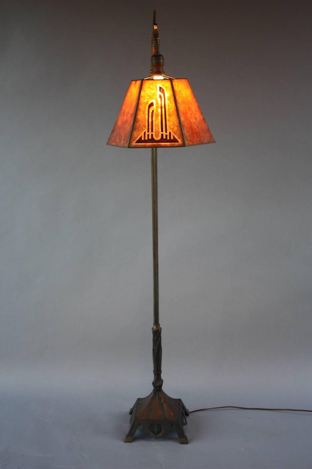 1920 S Bridge Lamp With Mica Shade At 1stdibs