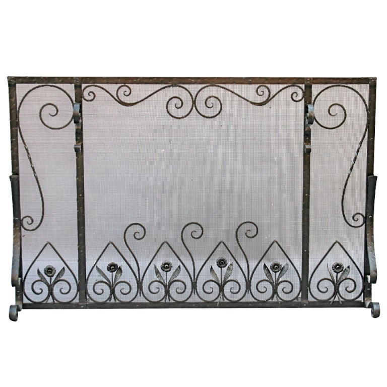 Large Scale Wrought Iron Fire Screen At 1stdibs