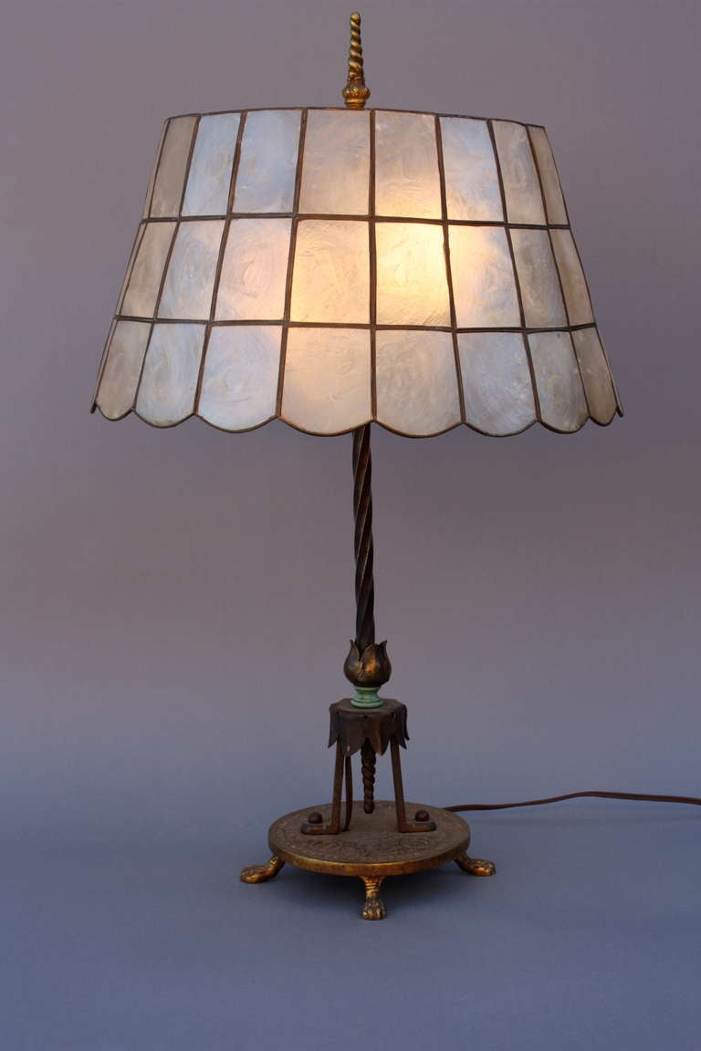 1920's Table Lamp With Abalone Shade 2
