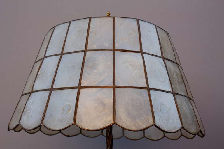 1920's Table Lamp With Abalone Shade 5