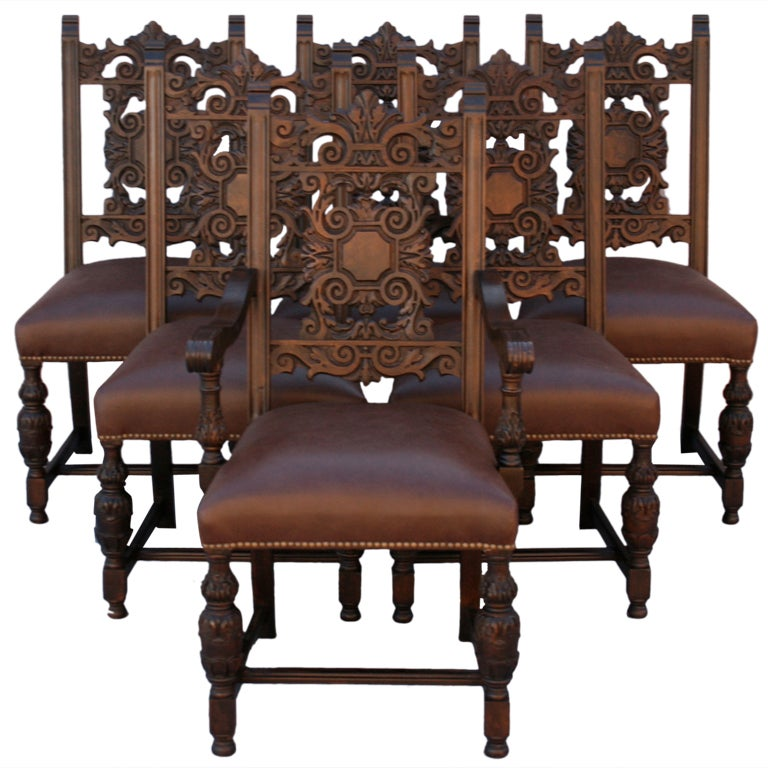 Set Of Six 1920 39 S Spanish Revival Chairs At 1stdibs
