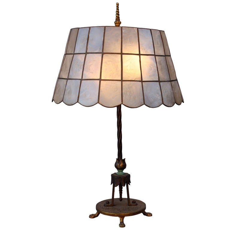 1920's Table Lamp With Abalone Shade 1