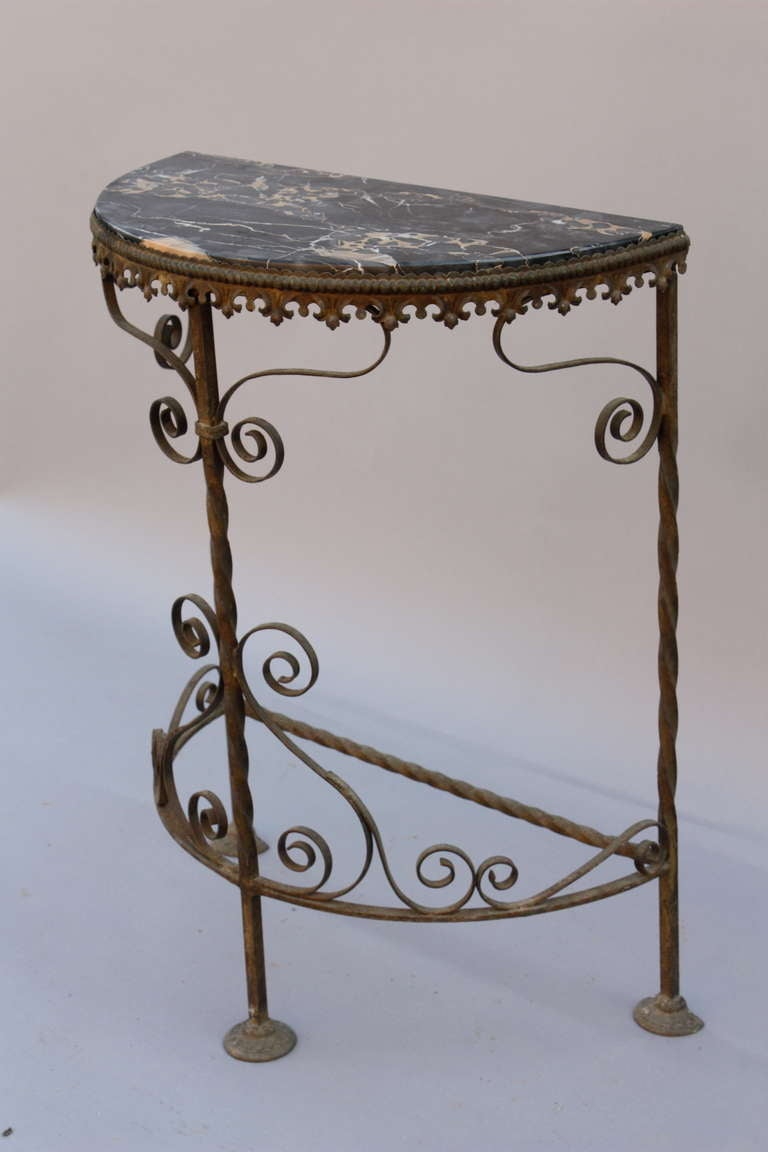 1920s Iron Half Moon Table With Marble At 1stdibs
