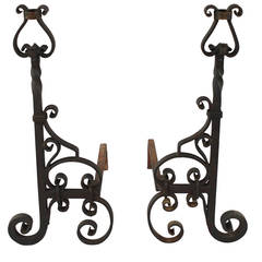 Antique Pair of Wrought Iron Andirons