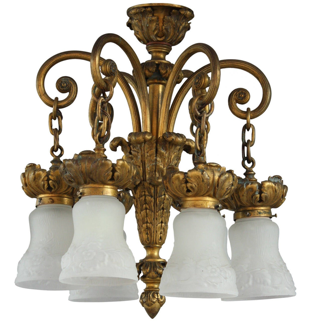 Antique 1920s bronze chandelier with acanthus motif and shallow antique 1920s bronze chandelier with acanthus motif and shallow drop 1 arubaitofo Gallery