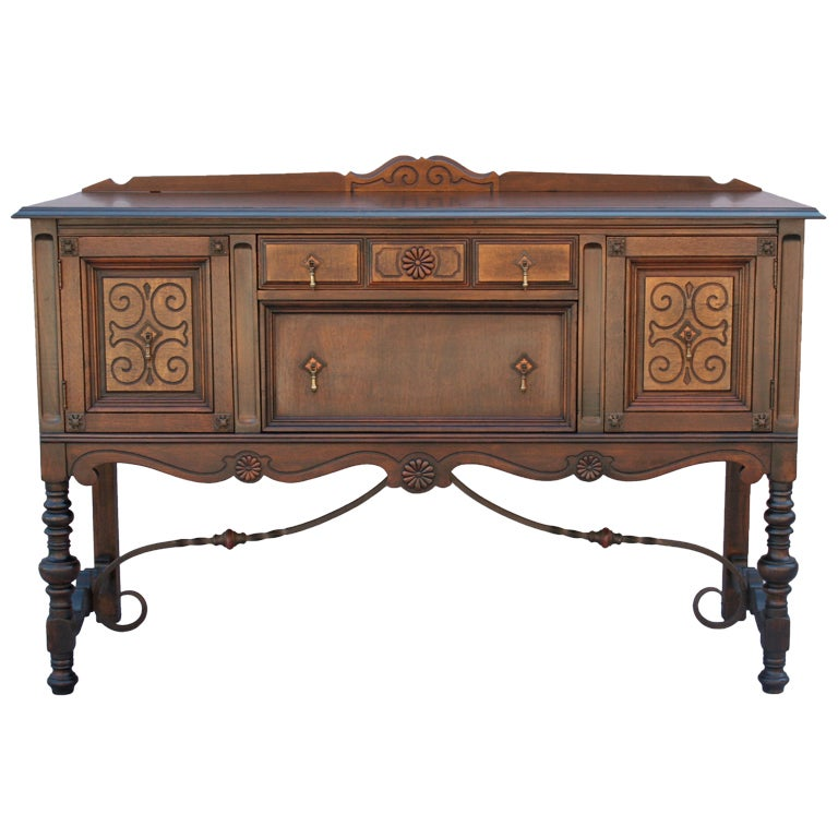 walnut sideboard with wrought iron stretcher at 1stdibs. Black Bedroom Furniture Sets. Home Design Ideas