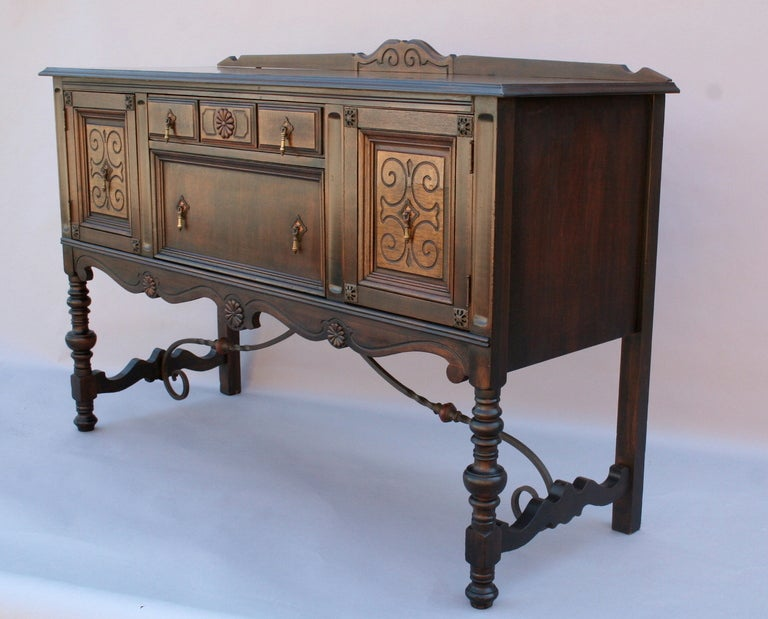 Wrought Iron And Wood Sideboards ~ Walnut sideboard with wrought iron stretcher at stdibs
