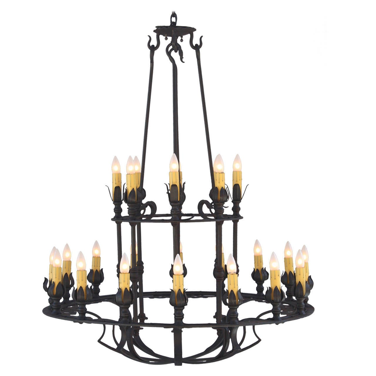 Two Tier Wrought Iron Chandelier For Sale At 1stdibs
