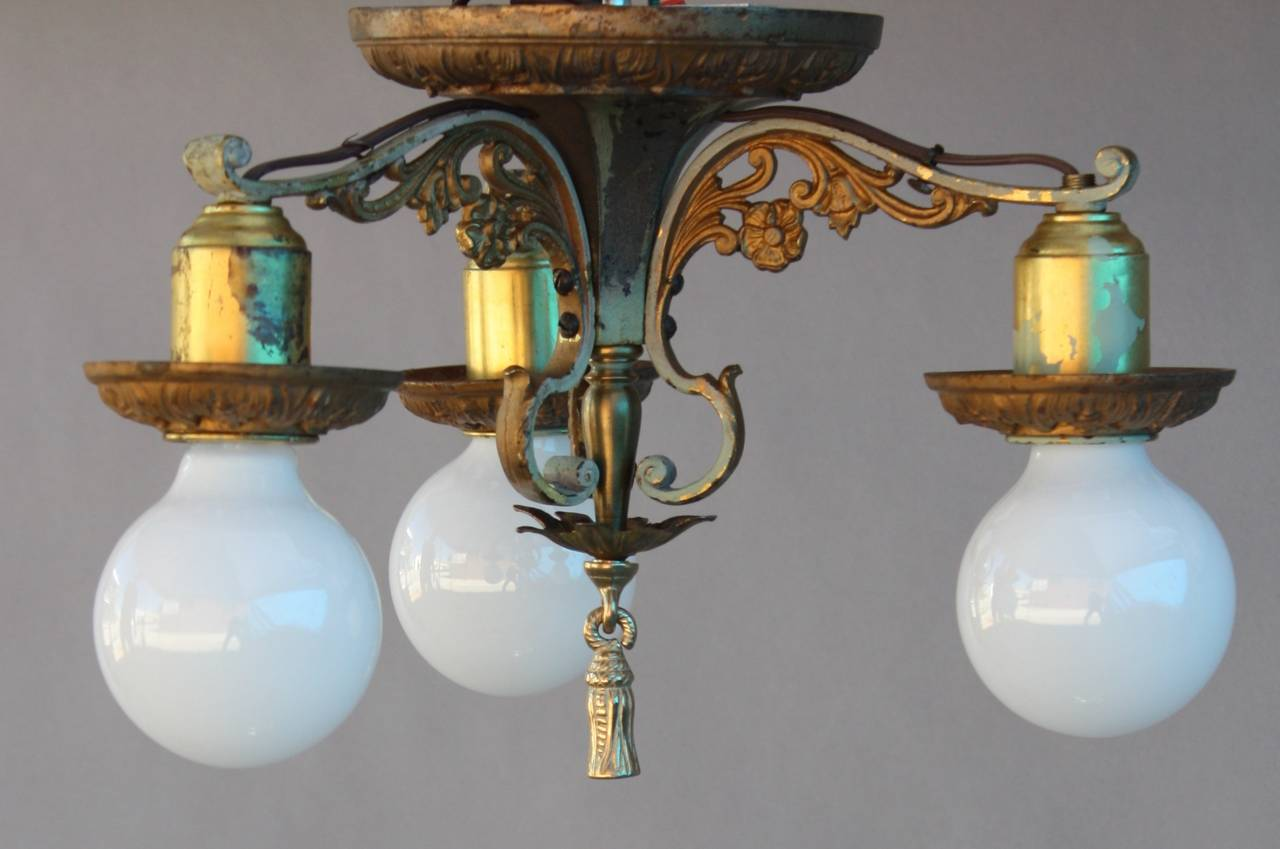 Three light ceiling mount fixture 1920s spanish revival for Spanish revival lighting fixtures