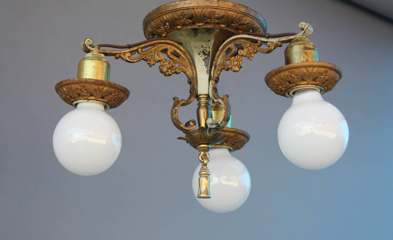 Three Light Ceiling Mount Fixture 1920s Spanish Revival