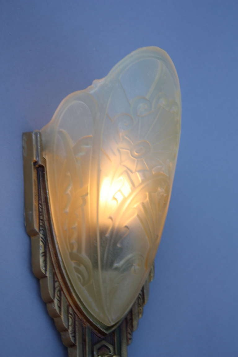 1920s 1 Of 3 Deco Slip Shade Sconce At 1stdibs