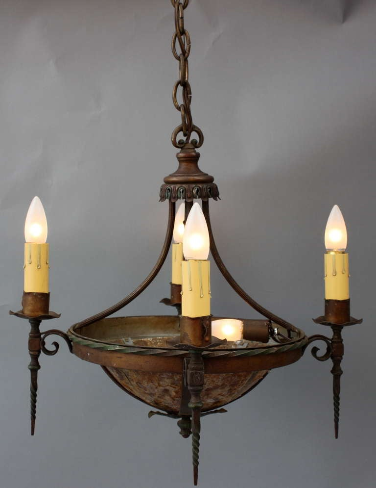 1920s small scale 5 light spanish revival chandelier at for Spanish revival lighting fixtures