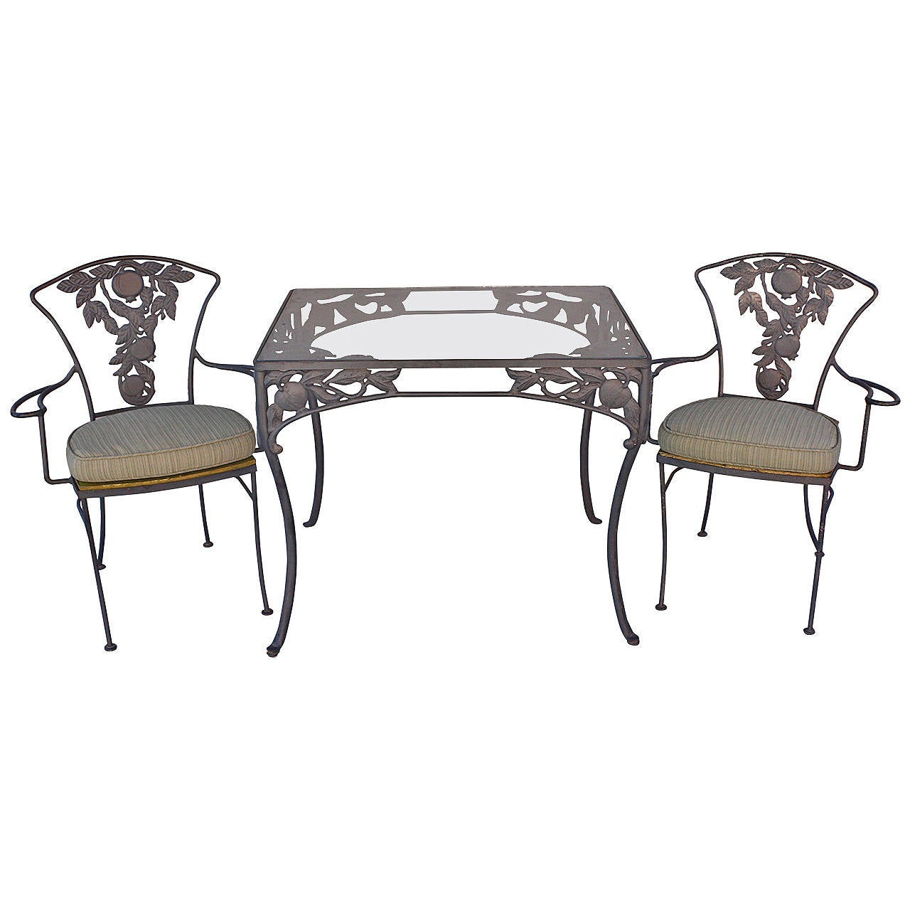 1940s pomegranate patio set table and two chairs at 1stdibs