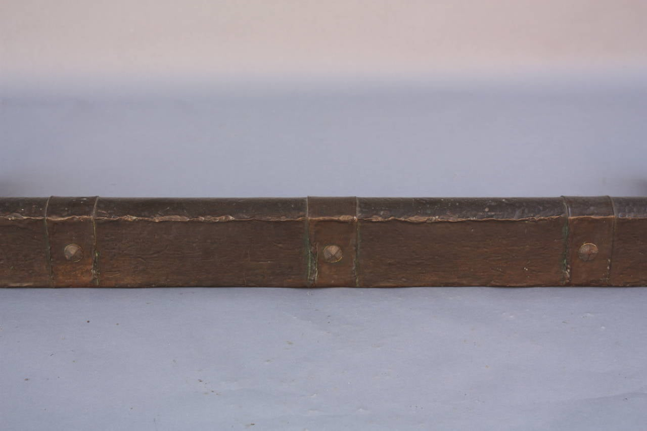 turn of the century hammered copper fireplace fender for sale at