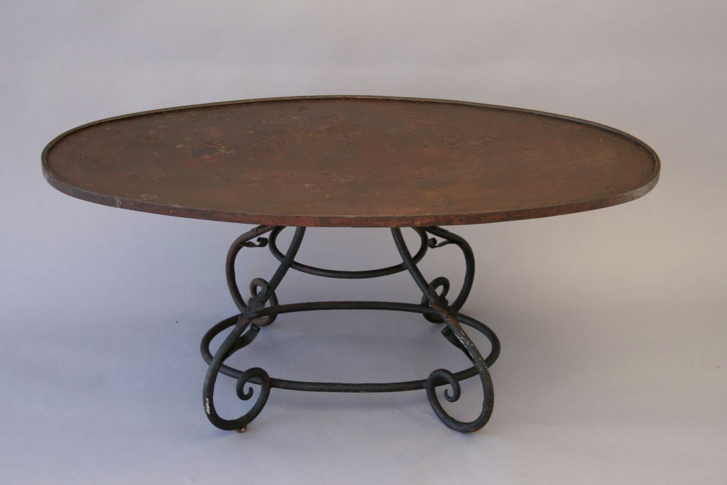 Oval Wrought Iron Coffee Table At 1stdibs