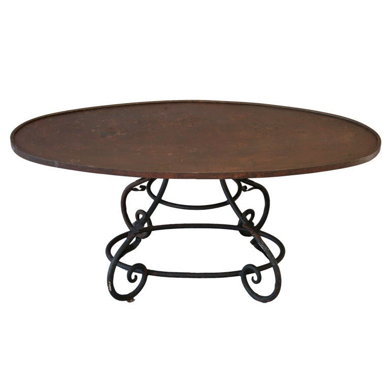 Oval wrought iron coffee table at 1stdibs for Glass top coffee table with wrought iron legs