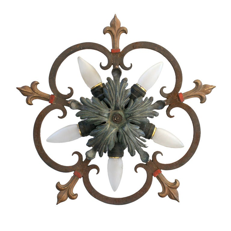 Five Light 1920 S Ceiling Mount Fixture At 1stdibs