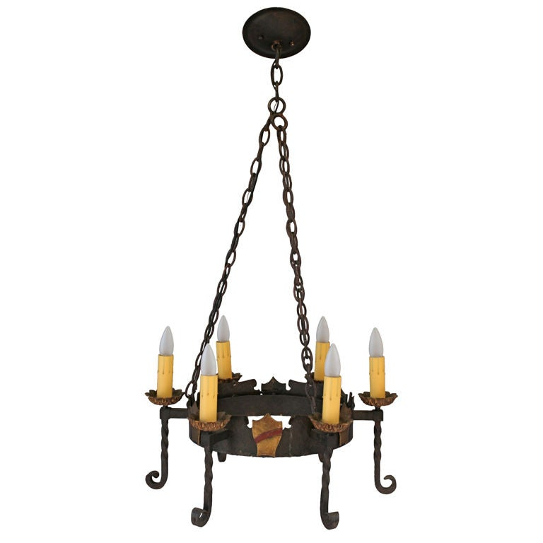 Spanish revival wrought iron chandelier at 1stdibs for Spanish revival lighting