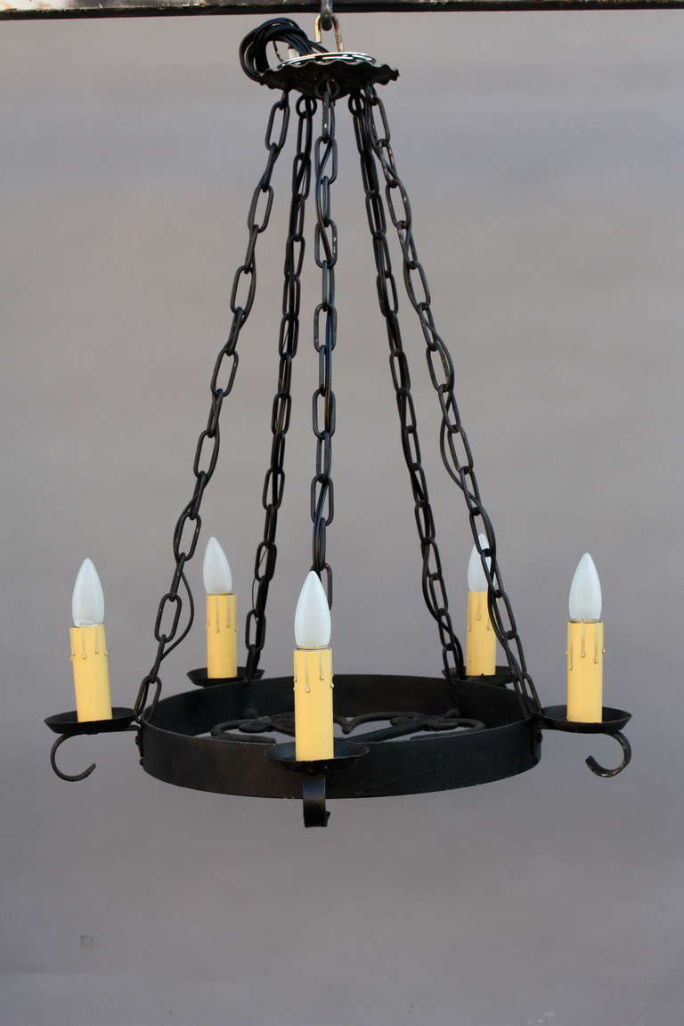 1920s Simple Wrought Iron Chandelier at 1stdibs