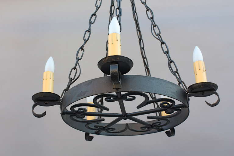 1920s simple wrought iron chandelier at 1stdibs simple wrought iron chandelier circa 1920s 28 aloadofball Image collections